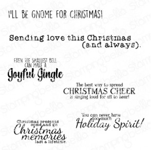 FESTIVE GNOME sentiment set rubber stamps